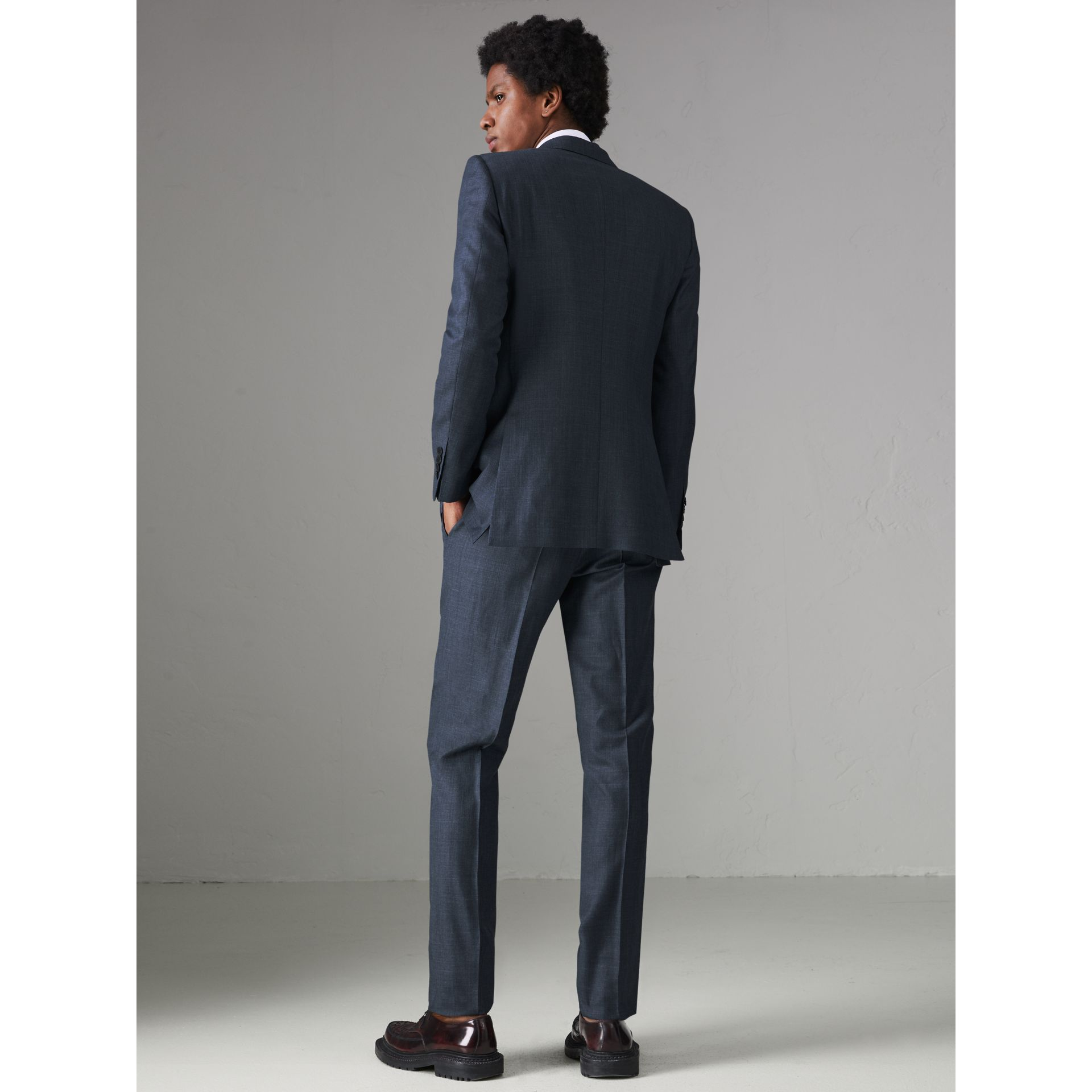 Slim Fit Wool Silk Linen Suit in Bright Navy - Men | Burberry Singapore - gallery image 2