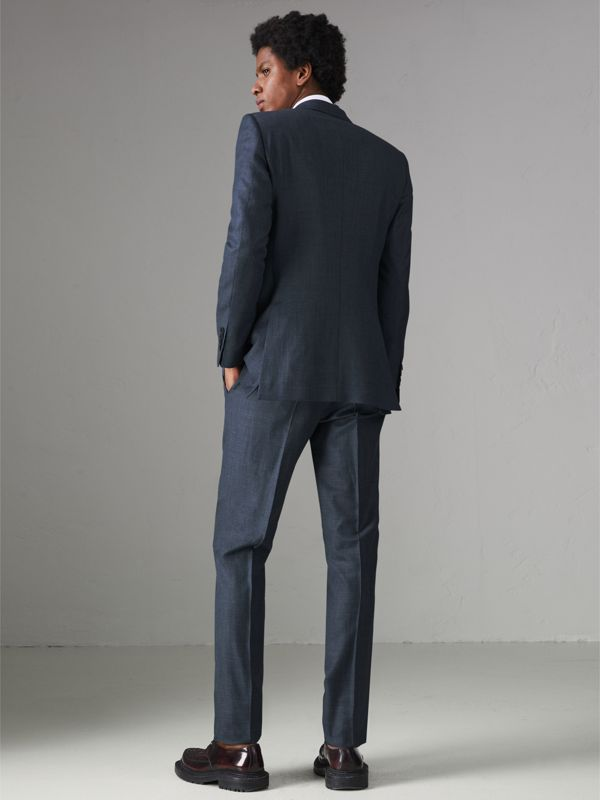Slim Fit Wool Silk Linen Suit in Bright Navy - Men | Burberry United Kingdom - cell image 2