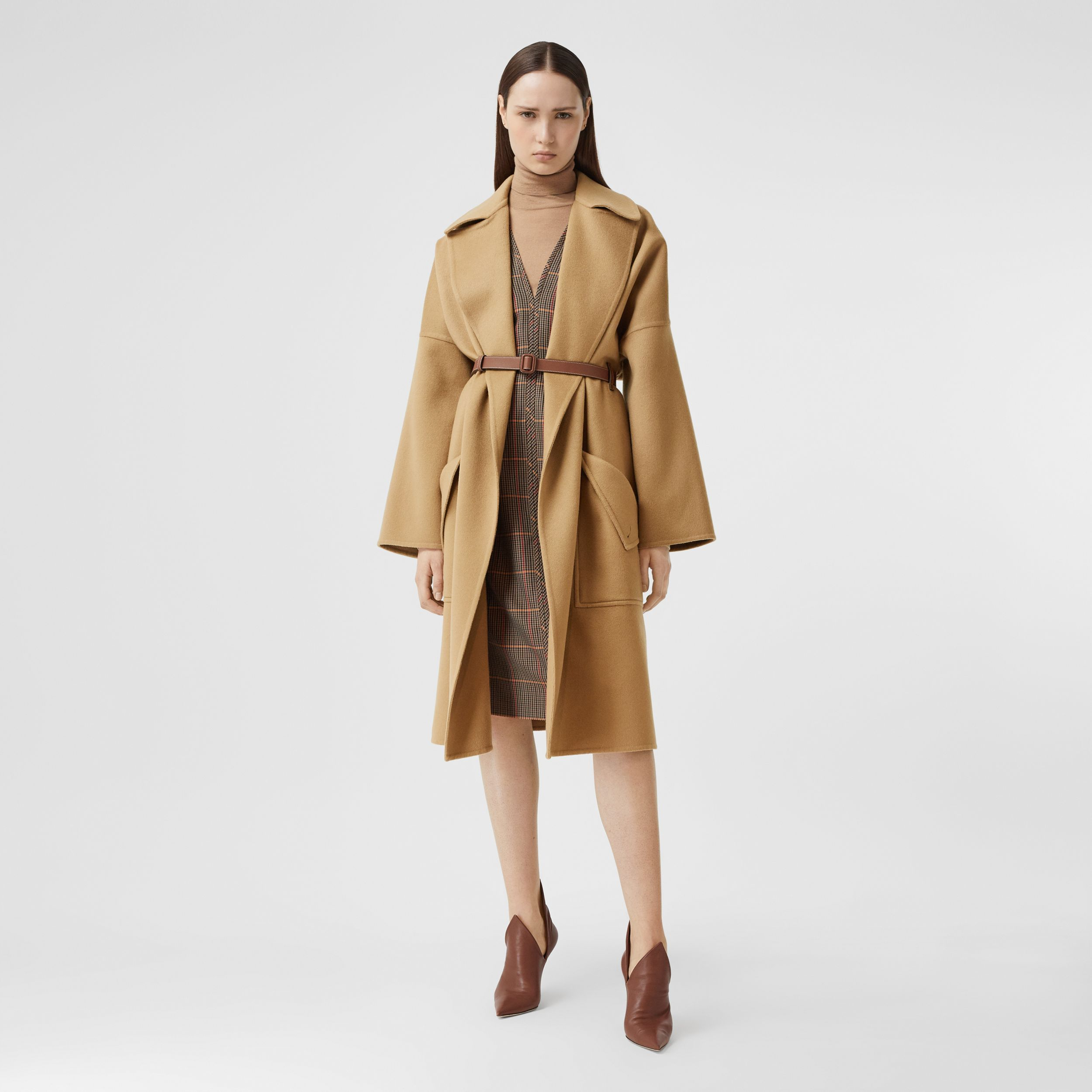 Pocket Detail Double-faced Cashmere Wrap Coat in Camel - Women | Burberry - 1