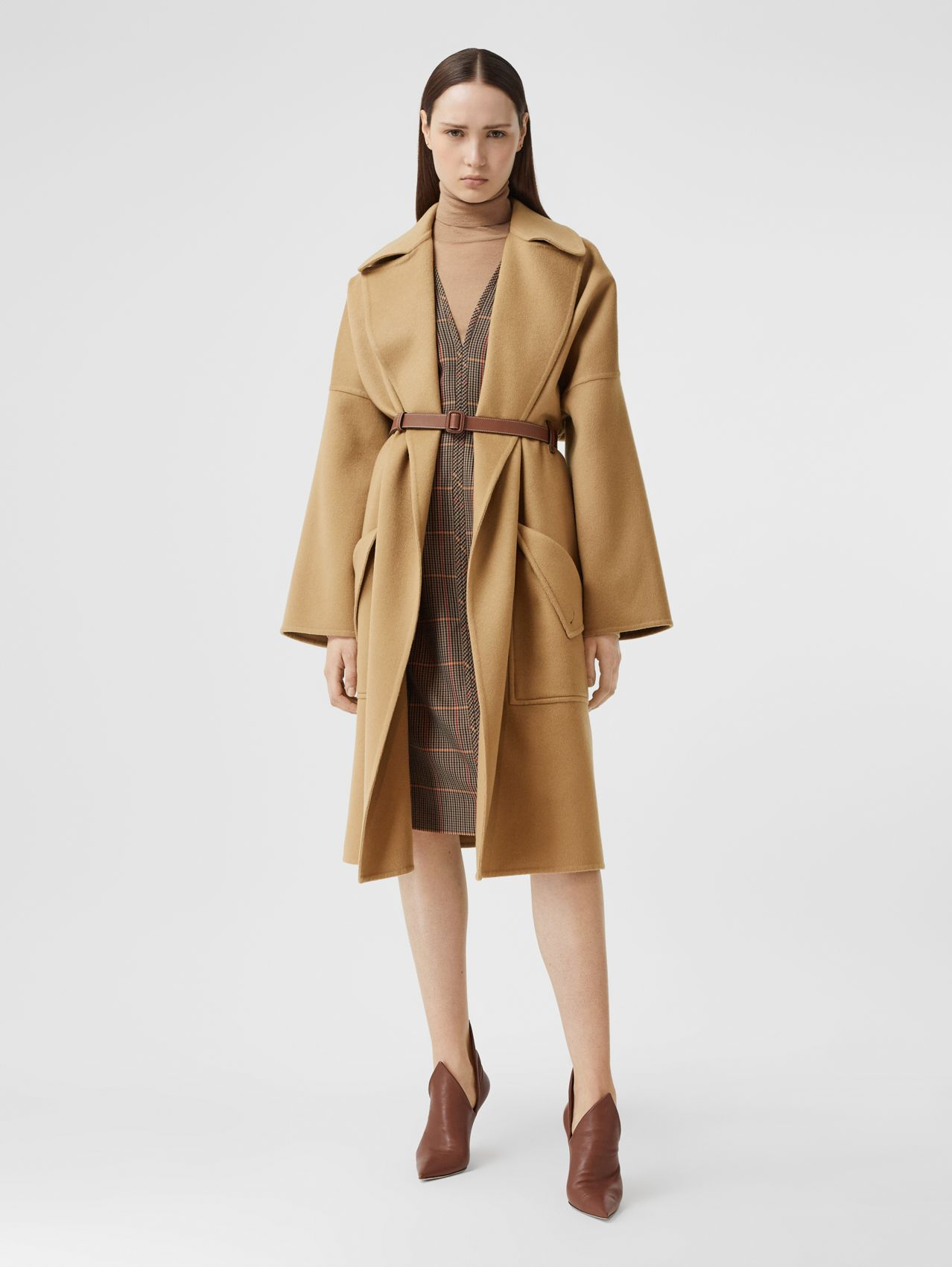 Pocket Detail Double-faced Cashmere Wrap Coat (Camel)