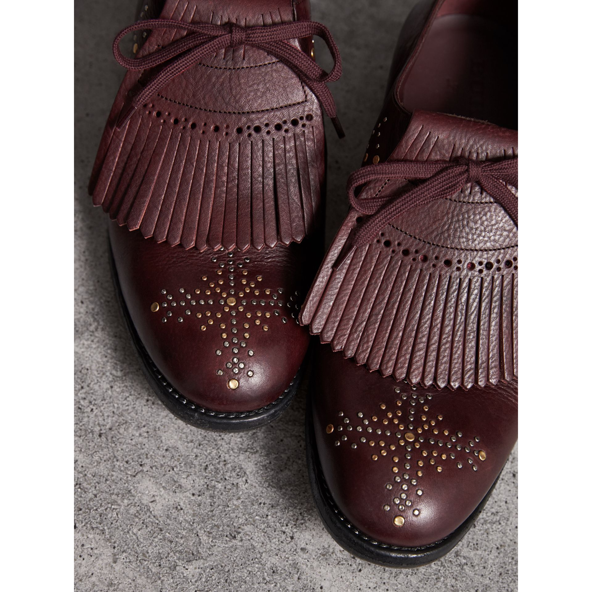 Lace-up Kiltie Fringe Riveted Leather Loafers in Cerise Purple - Men | Burberry - gallery image 1