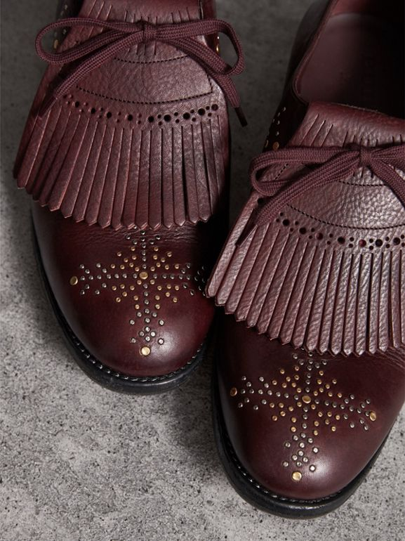 Lace-up Kiltie Fringe Riveted Leather Loafers in Cerise Purple - Men | Burberry - cell image 1