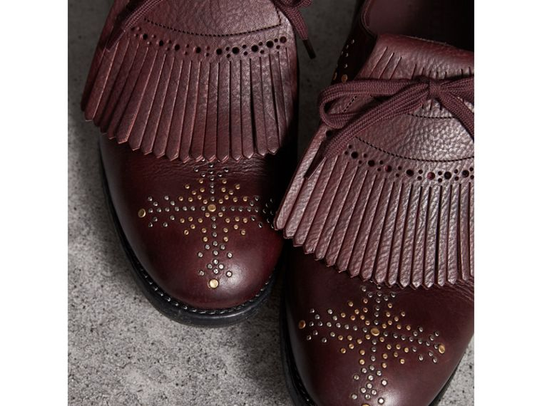 Lace-up Kiltie Fringe Riveted Leather Loafers in Cerise Purple - Men | Burberry United Kingdom - cell image 1