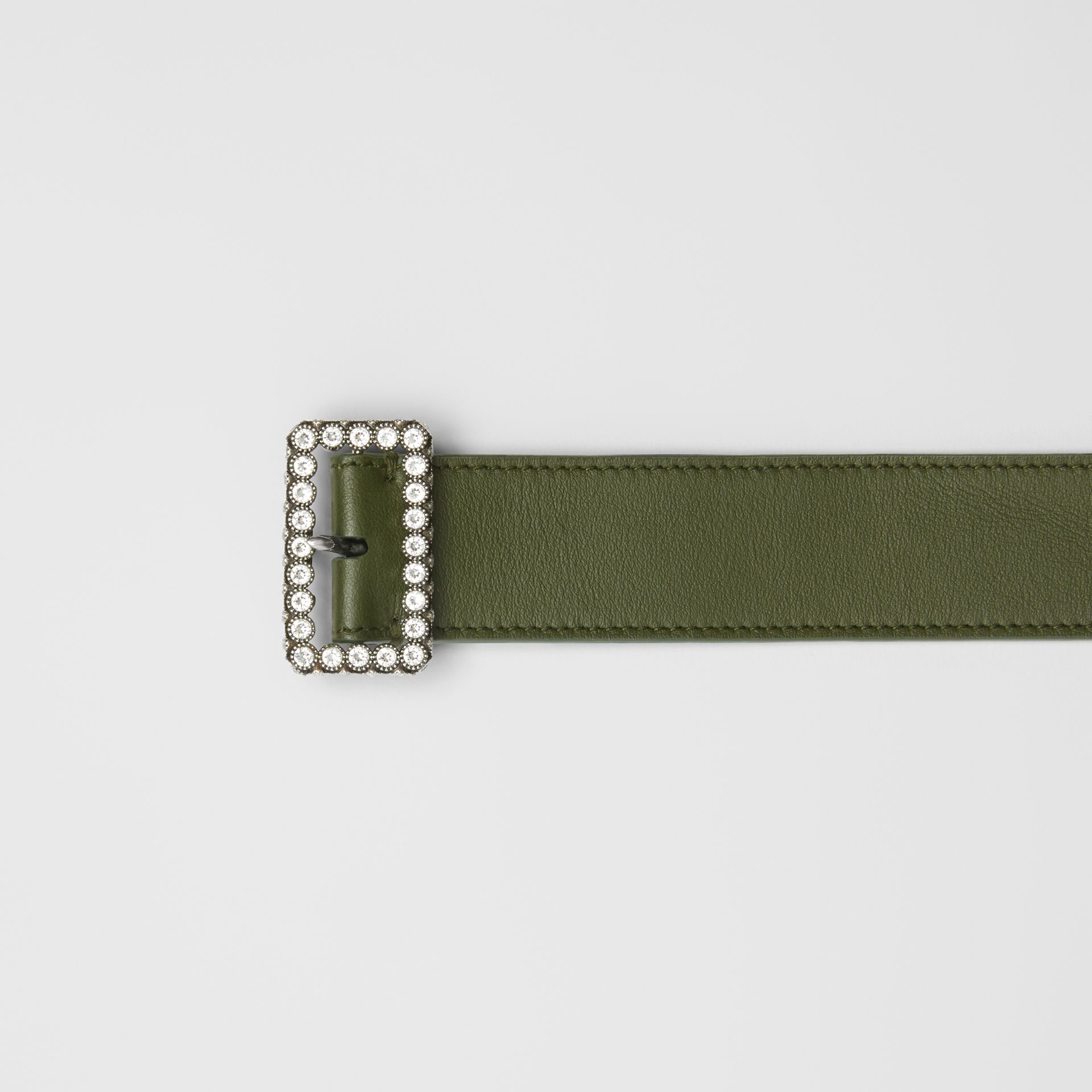 Leather Belt with Crystal Buckle in Dark Olive - Women | Burberry United Kingdom - gallery image 1