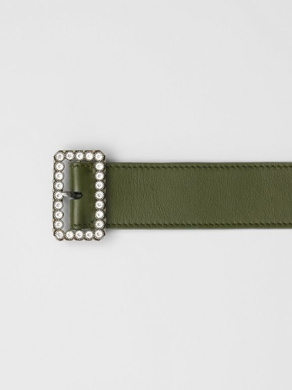 Leather Belt with Crystal Buckle in Dark Olive - Women | Burberry United Kingdom - cell image 1