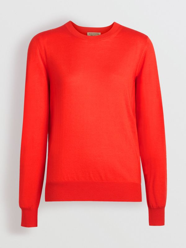 Vintage Check Detail Merino Wool Sweater in Orange Red - Women | Burberry - cell image 3