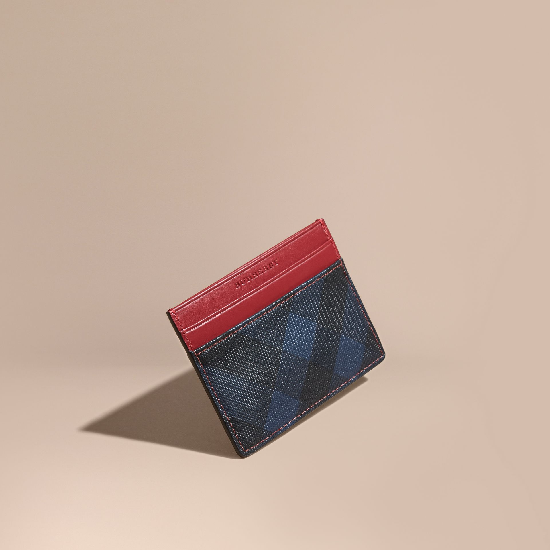 London Check and Leather Card Case in Parade Red - gallery image 1