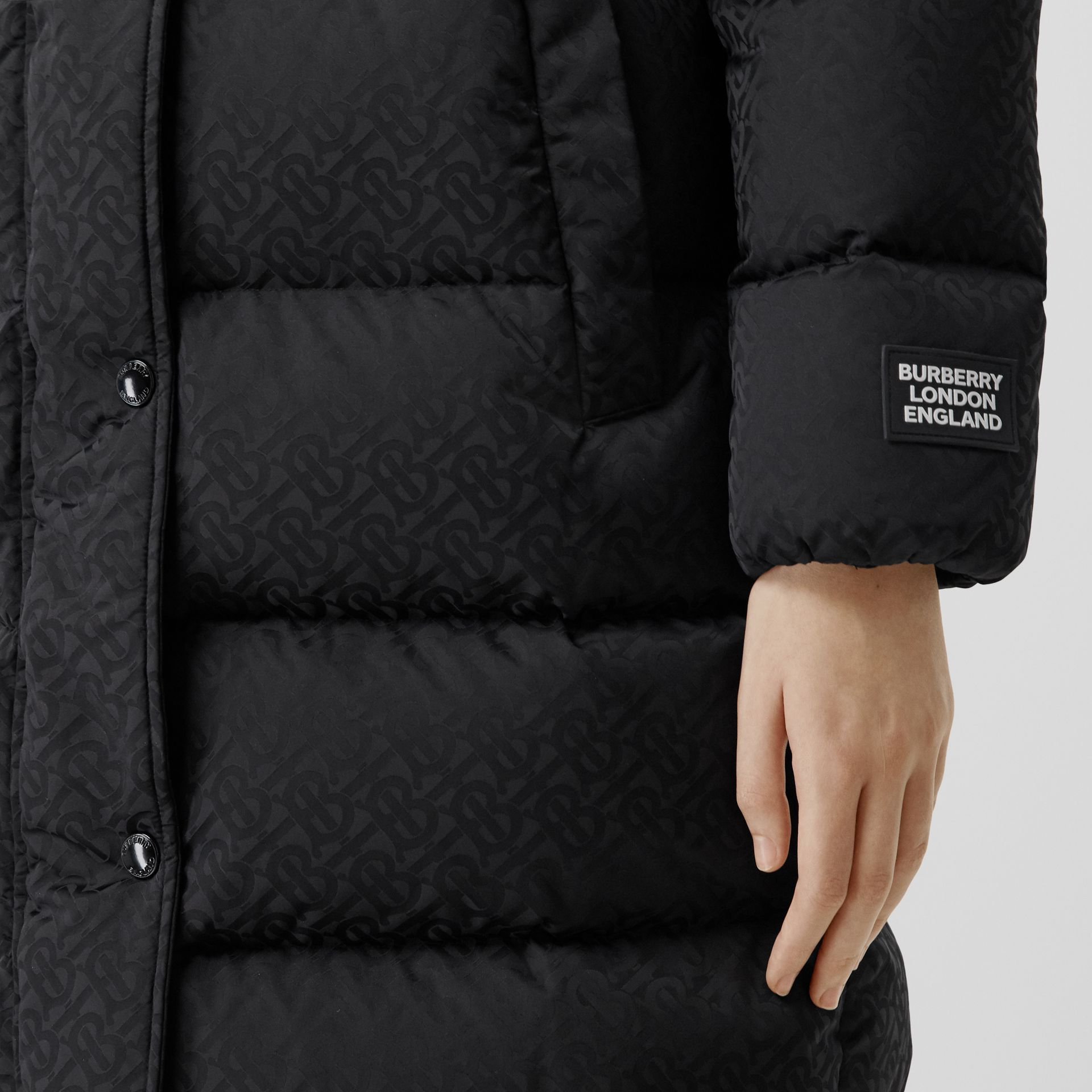 Detachable Hood Monogram ECONYL® Puffer Coat in Black - Women | Burberry - gallery image 4
