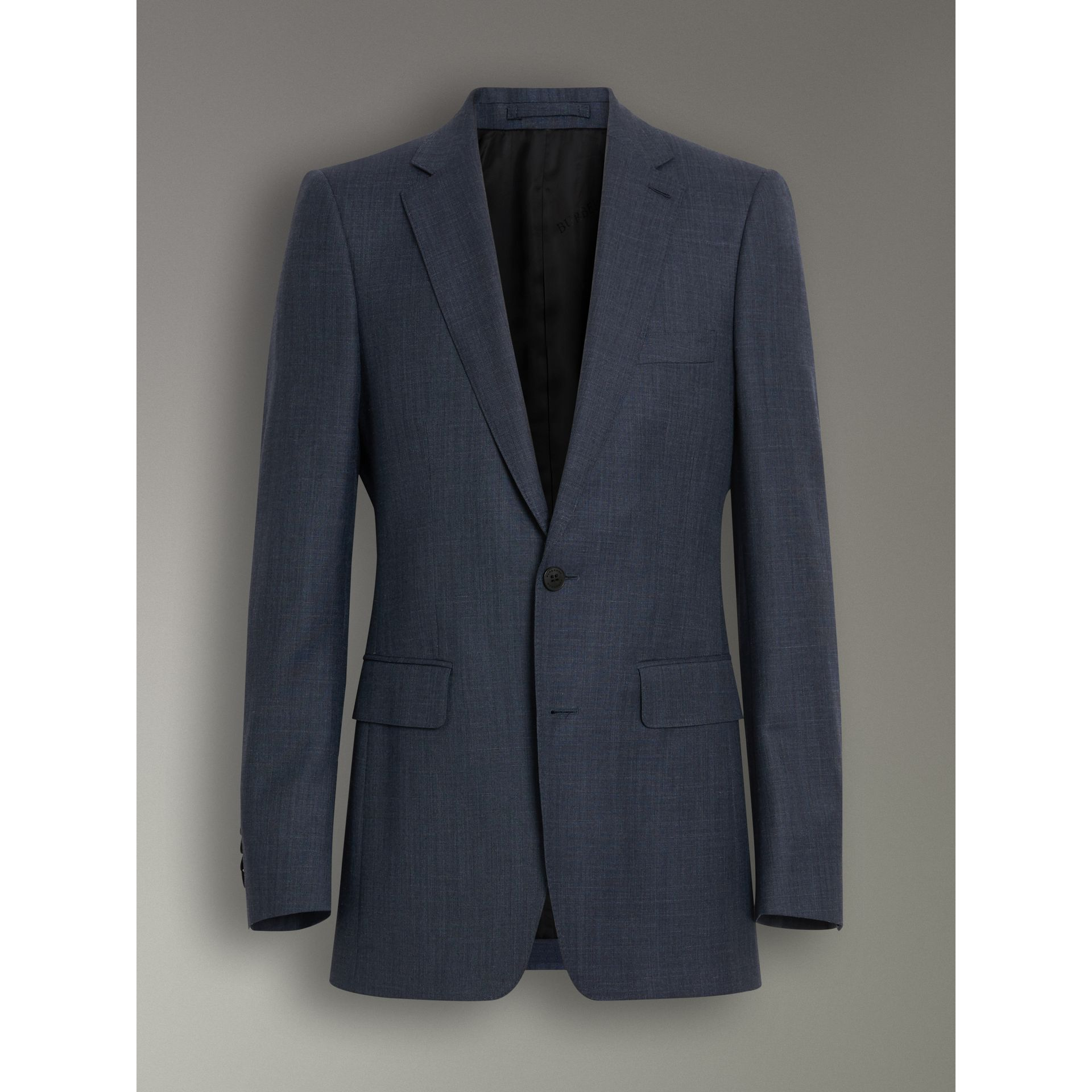 Slim Fit Wool Silk Linen Suit in Bright Navy - Men | Burberry Canada - gallery image 3