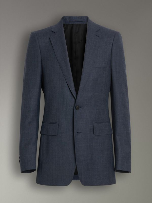 Slim Fit Wool Silk Linen Suit in Bright Navy - Men | Burberry - cell image 3