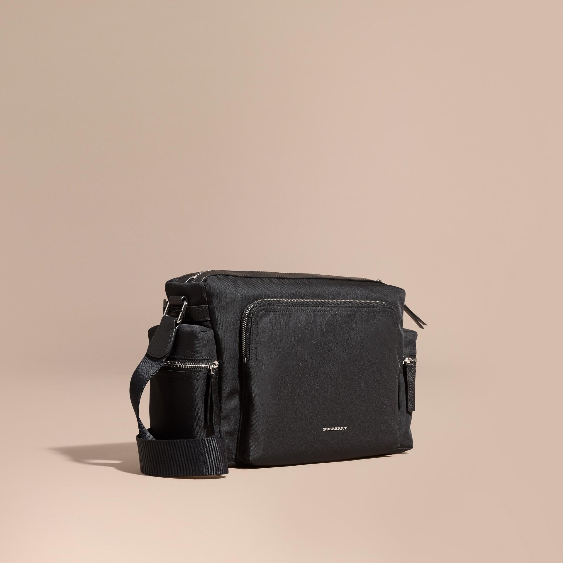 Black Leather Trim Messenger Bag Black - gallery image 1