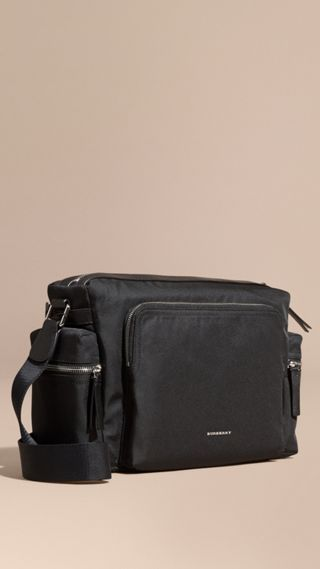 Leather Trim Messenger Bag