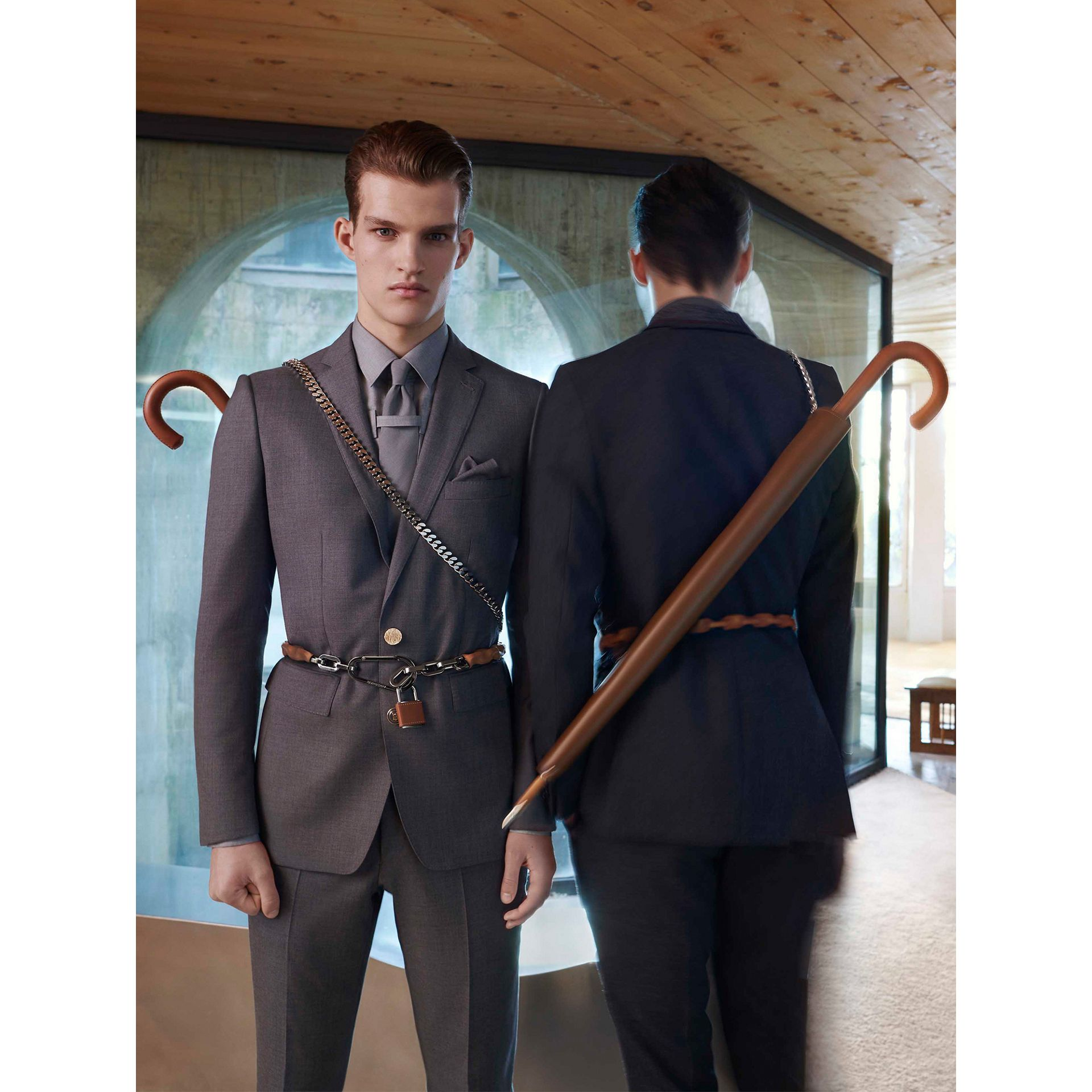 Classic Fit Wool Tailored Trousers in Dark Grey | Burberry - gallery image 1