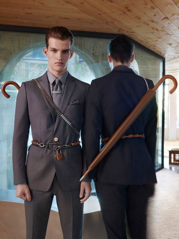 Classic Fit Wool Tailored Trousers in Dark Grey | Burberry Singapore - cell image 1