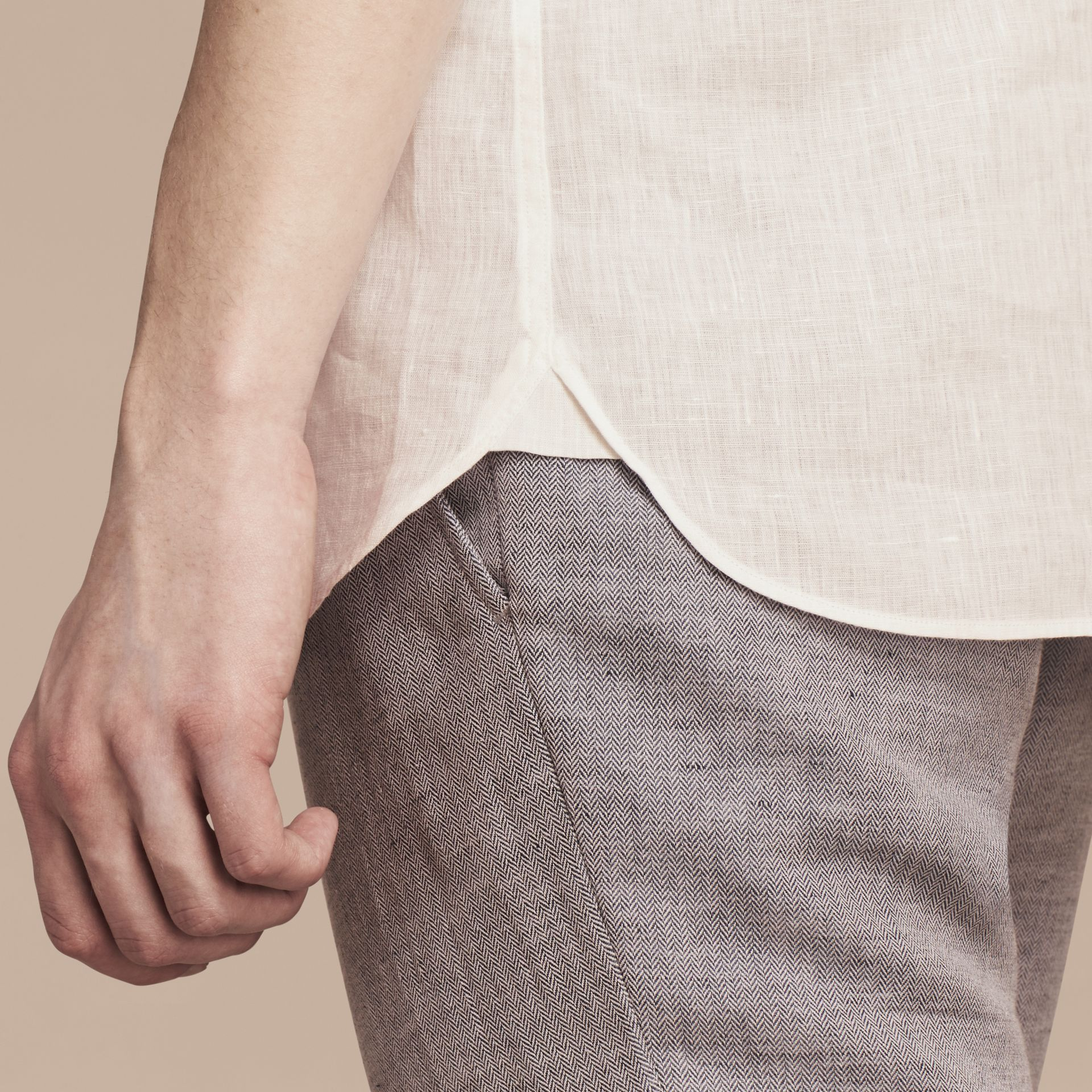 White Button-down Collar Linen Shirt White - gallery image 5