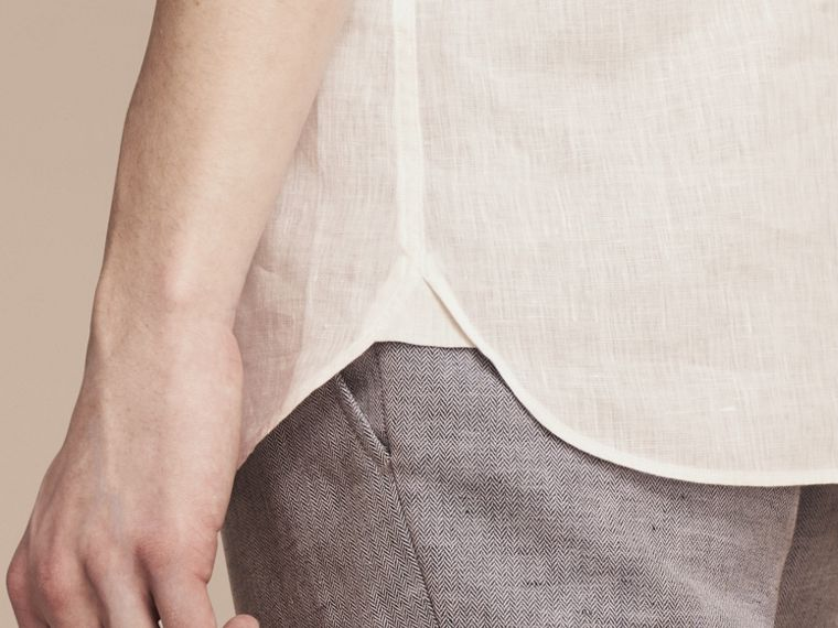 Blanco Camisa en lino con cuello abotonado Blanco - cell image 4