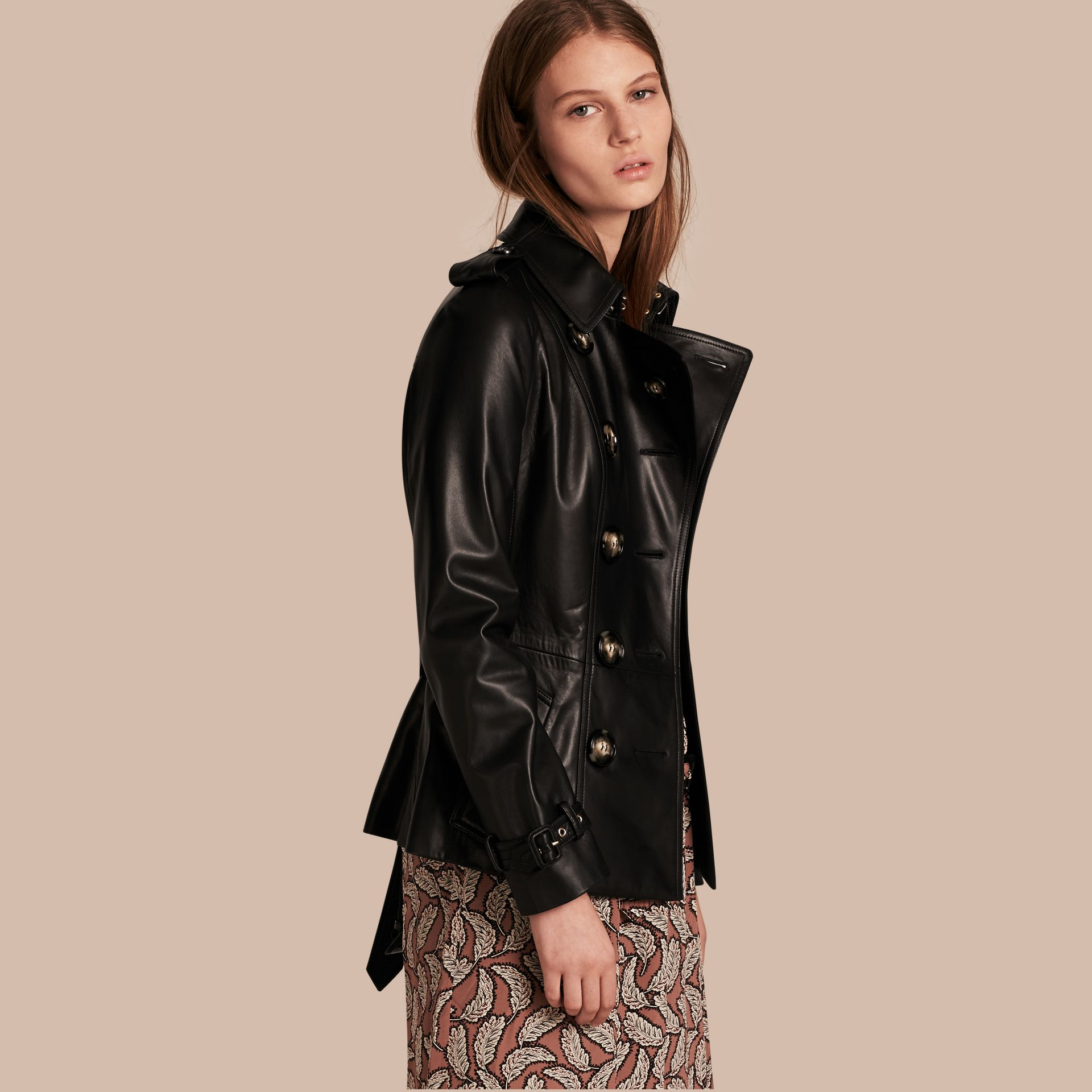 Black Lambksin Trench Jacket - gallery image 1
