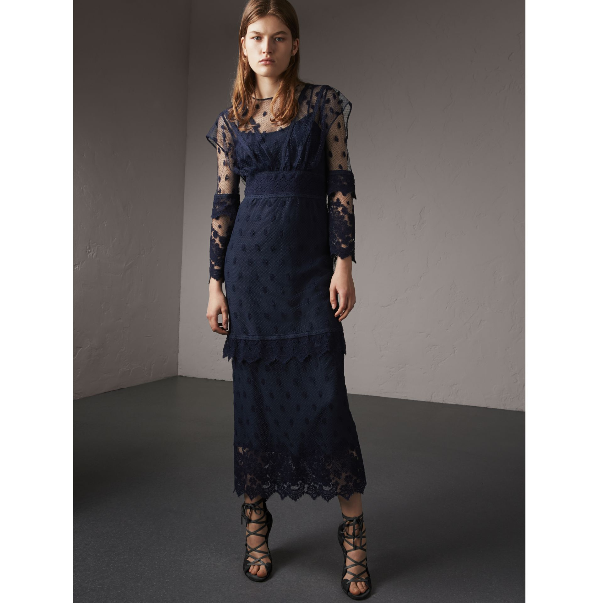 Embroidered Tulle Panel Dress in Navy - Women | Burberry Singapore - gallery image 1