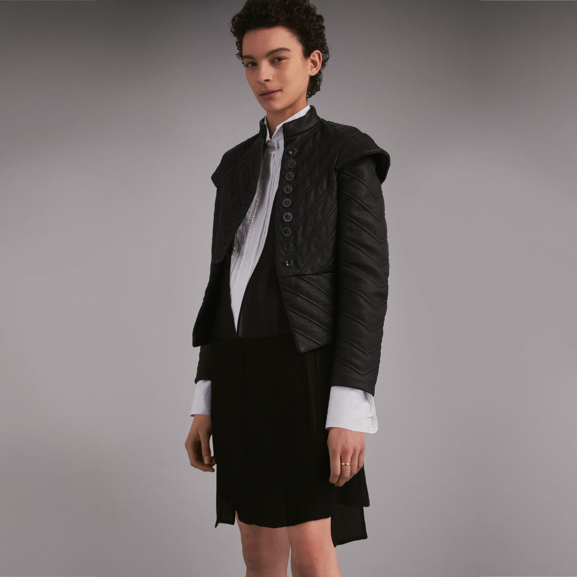 Quilted Lambskin Military-inspired Jacket in Black - Women | Burberry - gallery image 1