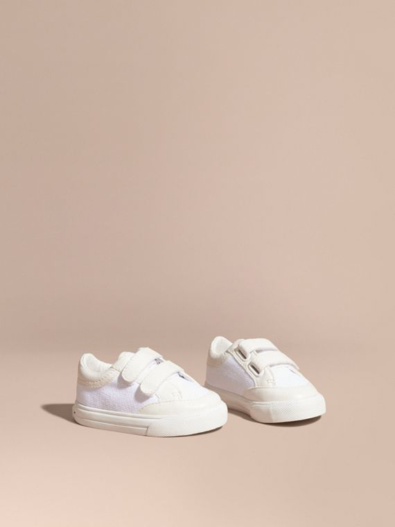 Leather and Canvas Trainers in White