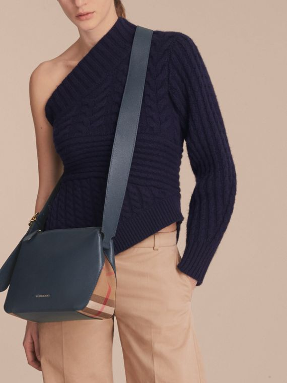 Buckle Detail Leather and House Check Crossbody Bag in Blue Carbon - Women | Burberry - cell image 2