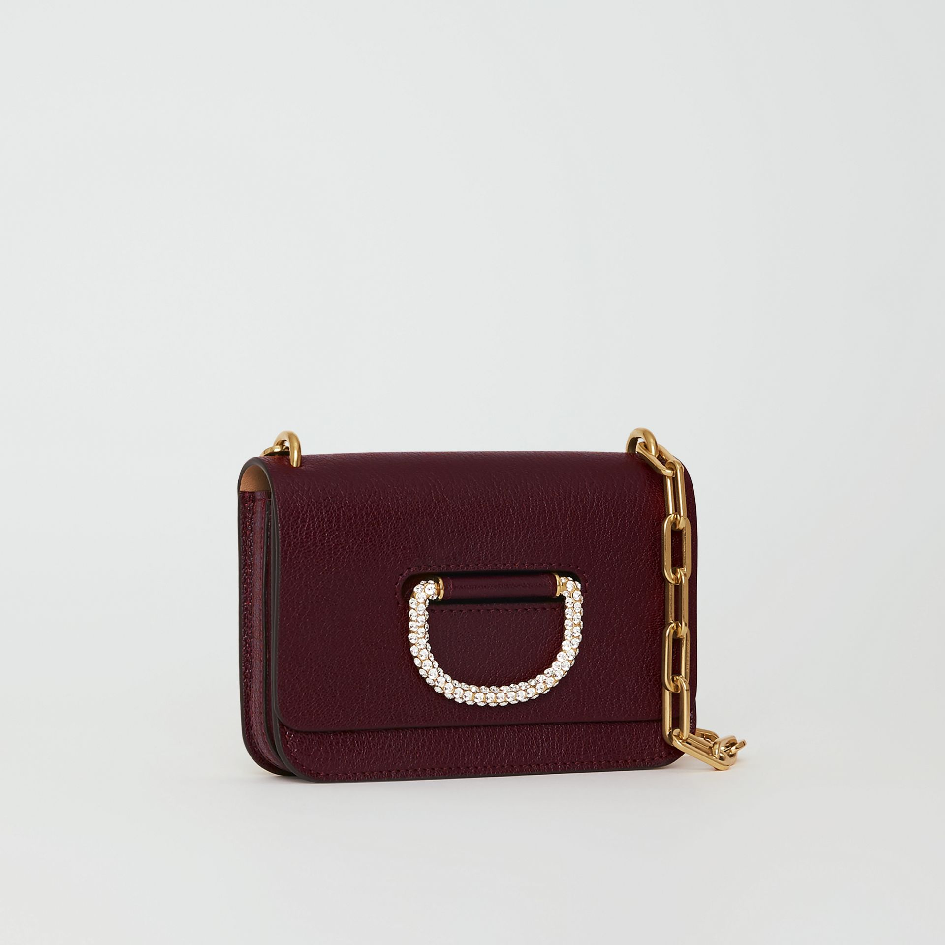 The Mini Leather Crystal D-ring Bag in Deep Claret - Women | Burberry United Kingdom - gallery image 4