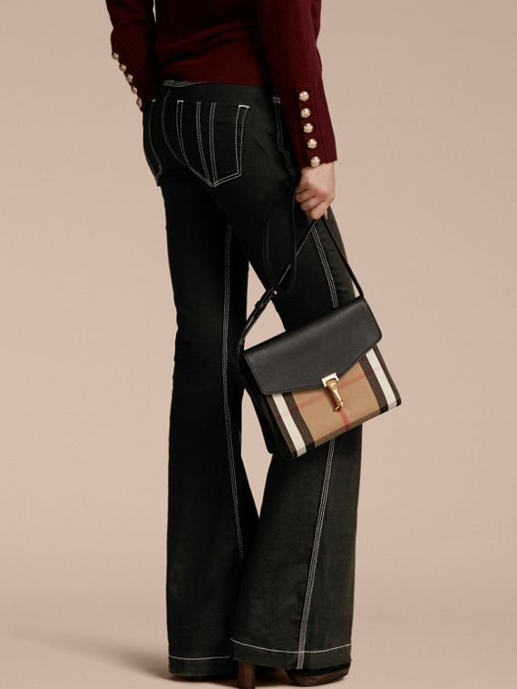Small Leather and House Check Crossbody Bag in Black - Women | Burberry Canada - cell image 2