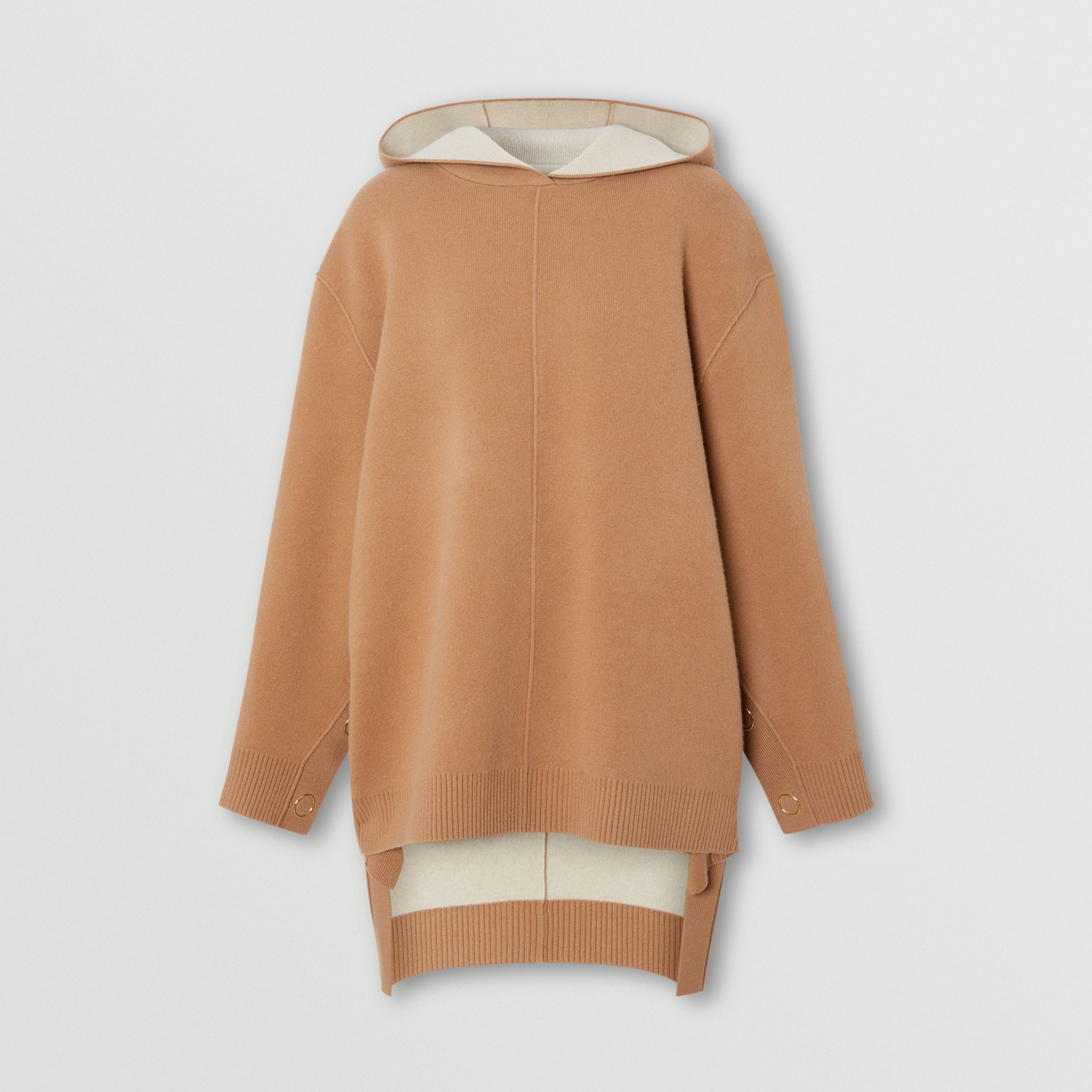 Double-faced Merino Wool Cashmere Blend Hoodie in Warm Camel - Women | Burberry - 4