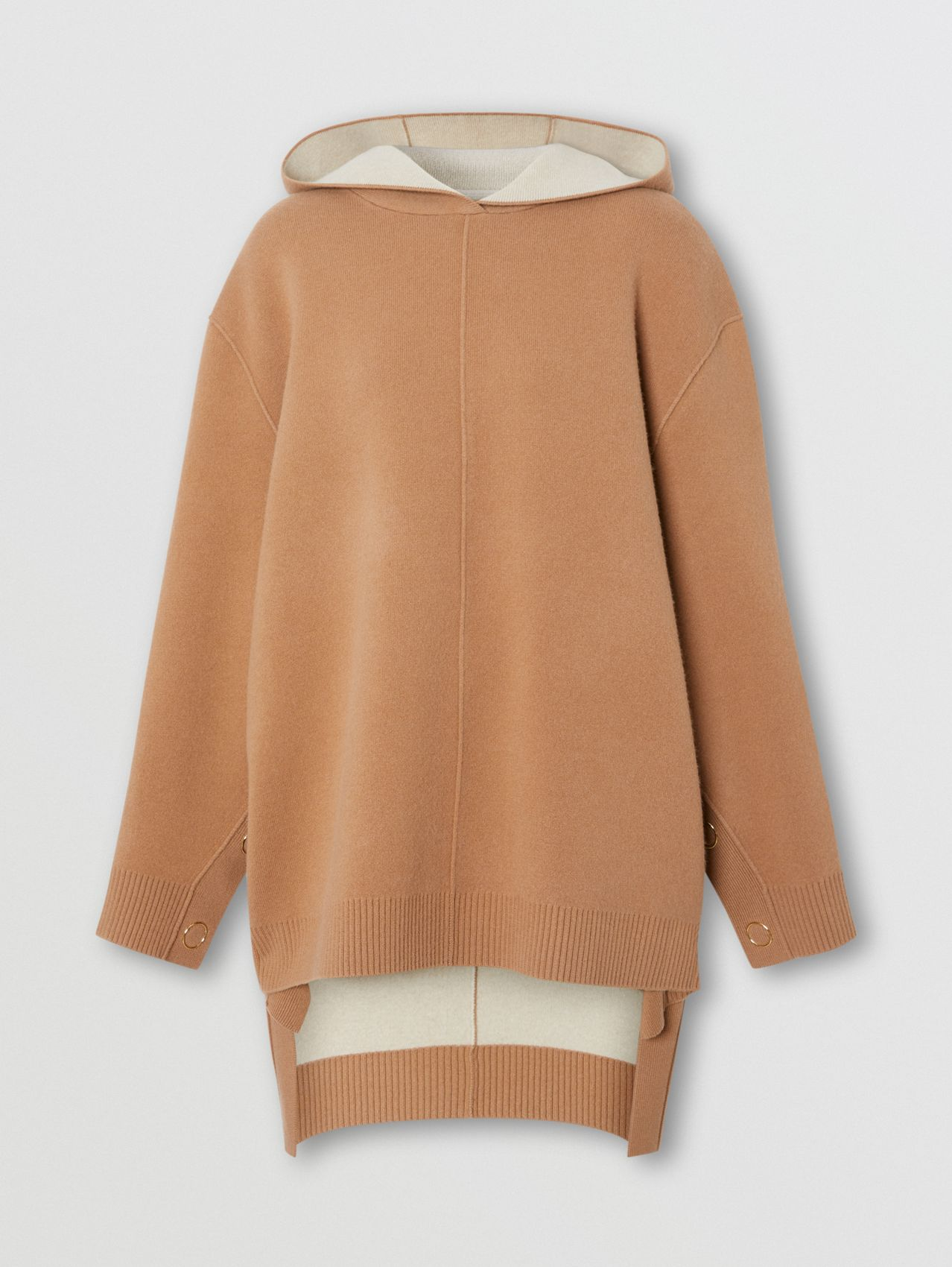Double-faced Merino Wool Cashmere Blend Hoodie in Warm Camel
