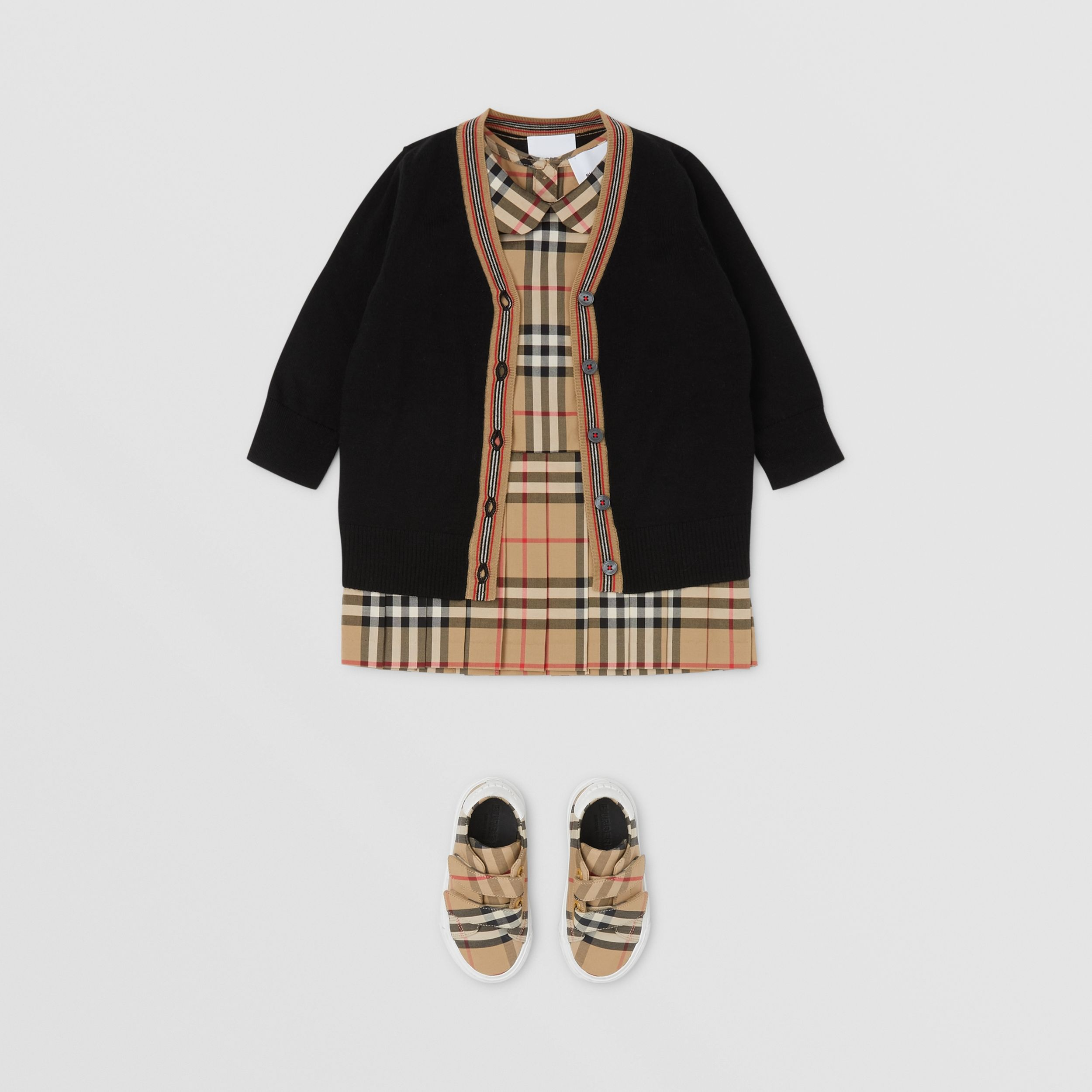 Icon Stripe Detail Merino Wool Cardigan in Black - Children | Burberry Canada - 3