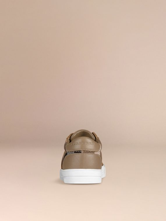 House Check and Leather Trainers in Mink Grey - Boy | Burberry - cell image 2