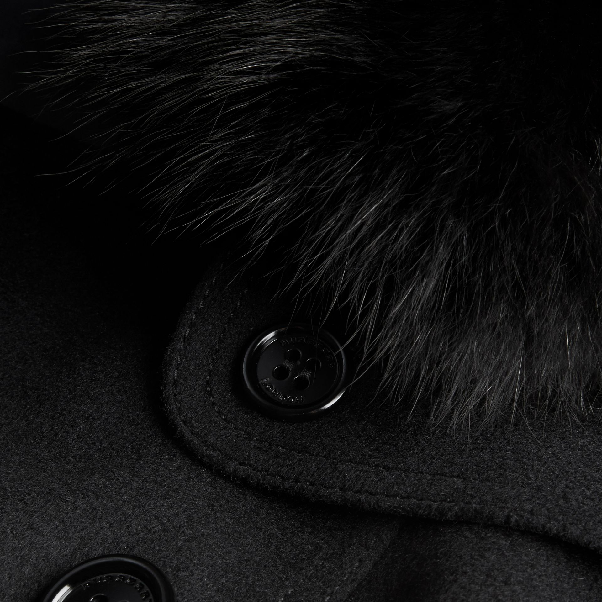 Black Fox Fur Collar Wool Cashmere Trench Coat Black - gallery image 2