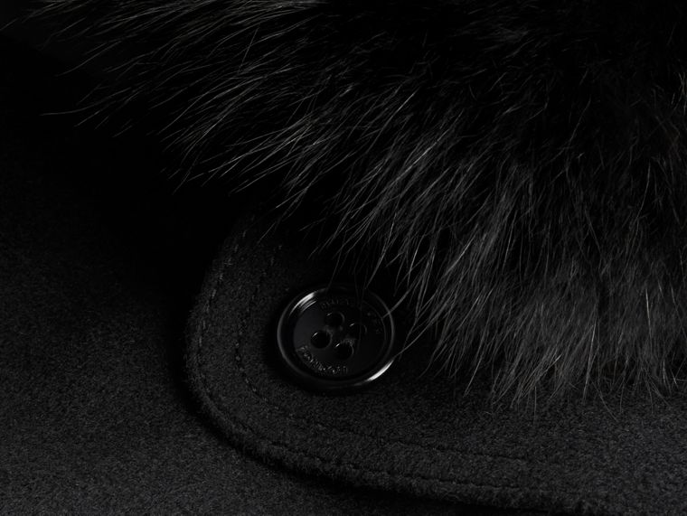 Black Fox Fur Collar Wool Cashmere Trench Coat Black - cell image 1