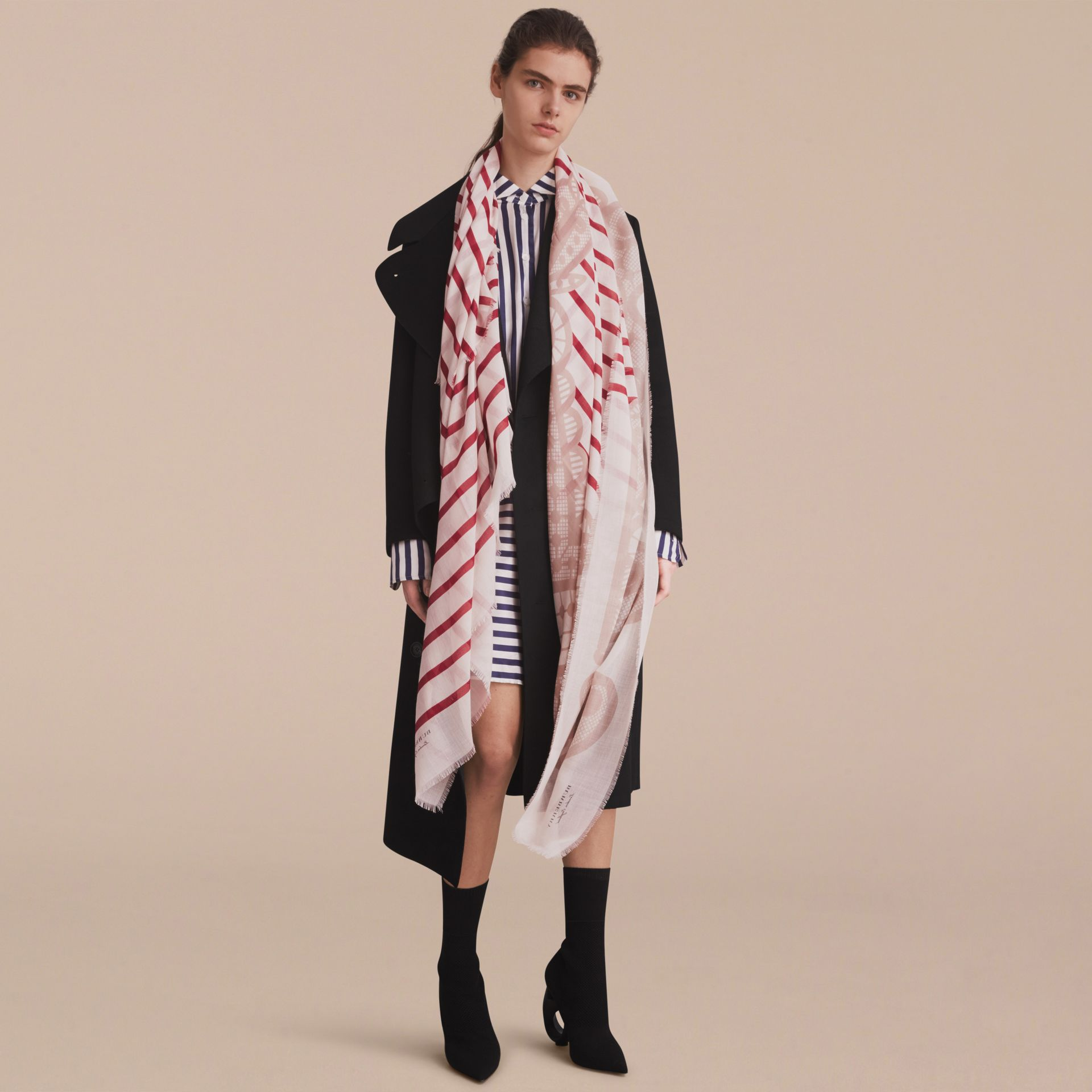 Lace and Breton Stripe Print Cashmere Silk Scarf - gallery image 4