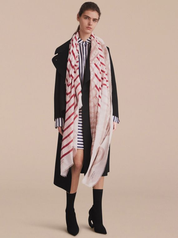 Lace and Breton Stripe Print Cashmere Silk Scarf - cell image 3