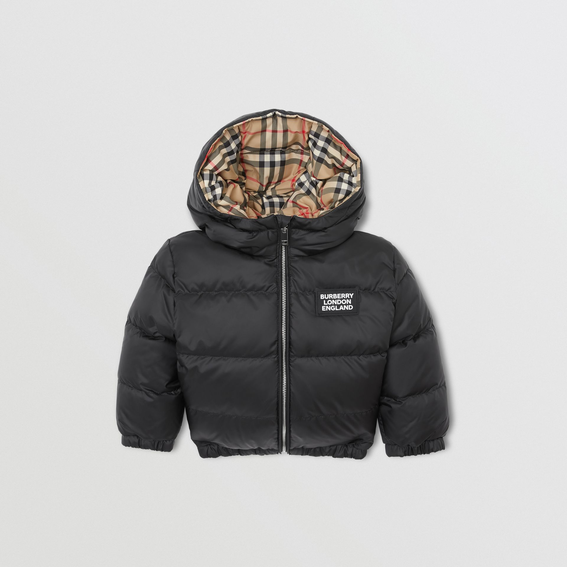 Reversible Vintage Check Down-filled Puffer Jacket in Black - Children | Burberry Singapore - gallery image 0