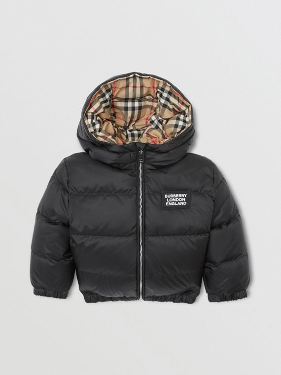 Reversible Vintage Check Down-filled Puffer Jacket in Black