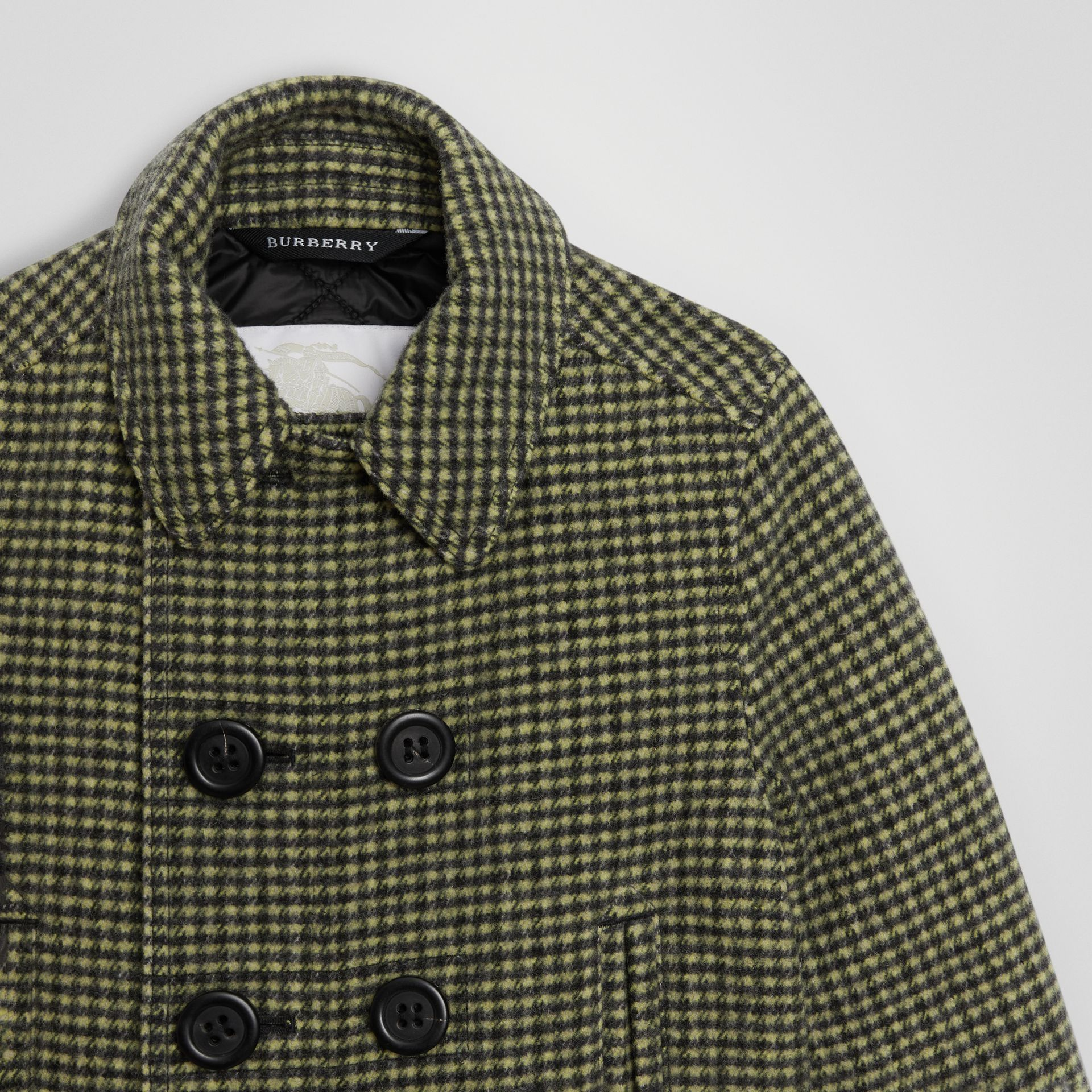 Check Wool Blend Tailored Coat in Grass Green | Burberry United Kingdom - gallery image 4