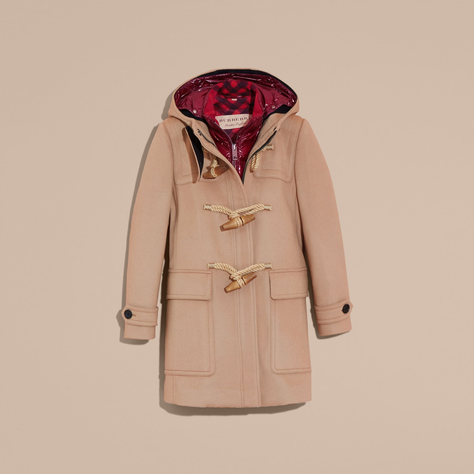 Camel Wool Duffle Coat with Detachable Hooded Down-filled Warmer Camel - gallery image 4