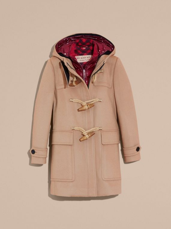 Wool Duffle Coat with Detachable Hooded Down-filled Warmer in Camel - cell image 3