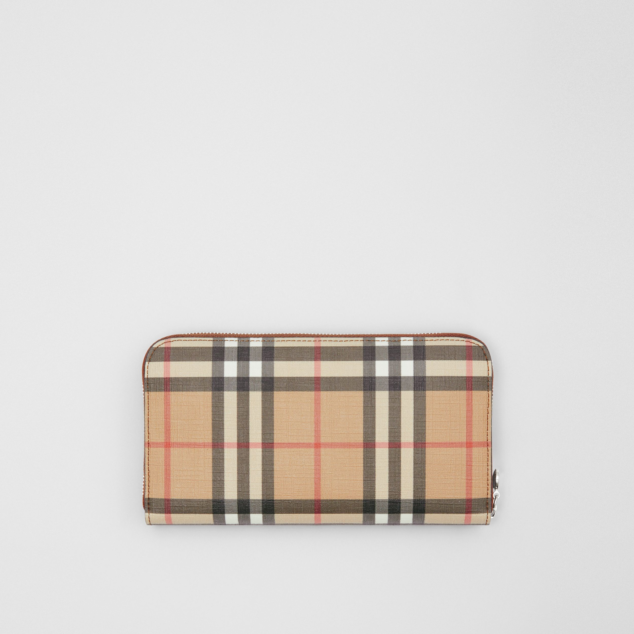 Vintage Check E-canvas Ziparound Wallet in Malt Brown - Women | Burberry - 1