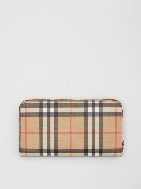 Vintage Check E-canvas Ziparound Wallet in Malt Brown