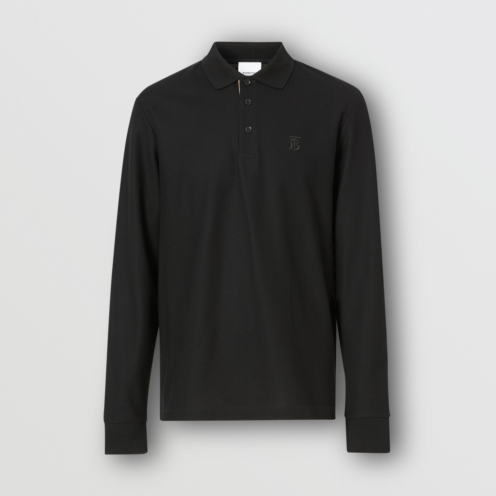 Long-sleeve Monogram Motif Cotton Piqué Polo Shirt in Black - Men | Burberry - gallery image 3
