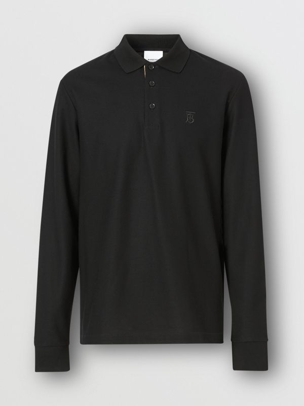 Long-sleeve Monogram Motif Cotton Piqué Polo Shirt in Black - Men | Burberry - cell image 3