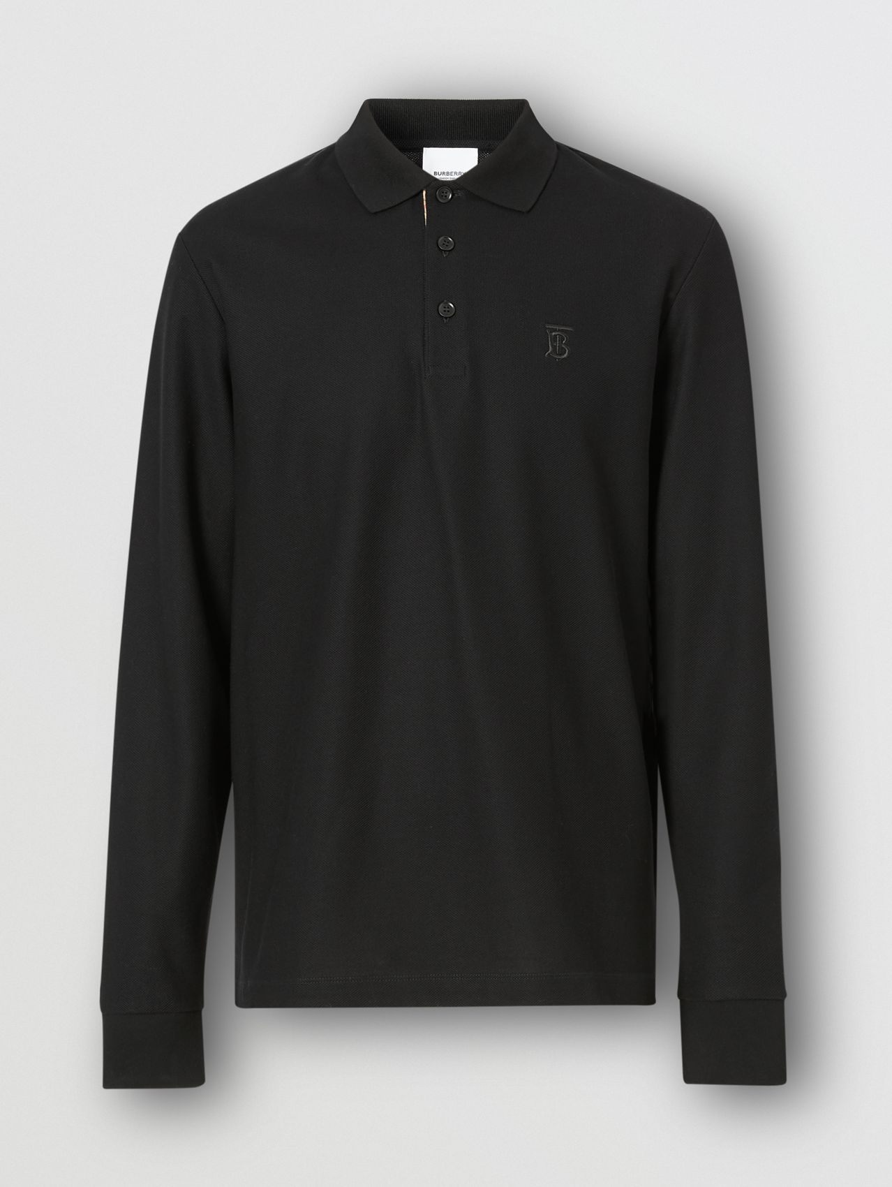 Long-sleeve Monogram Motif Cotton Piqué Polo Shirt in Black