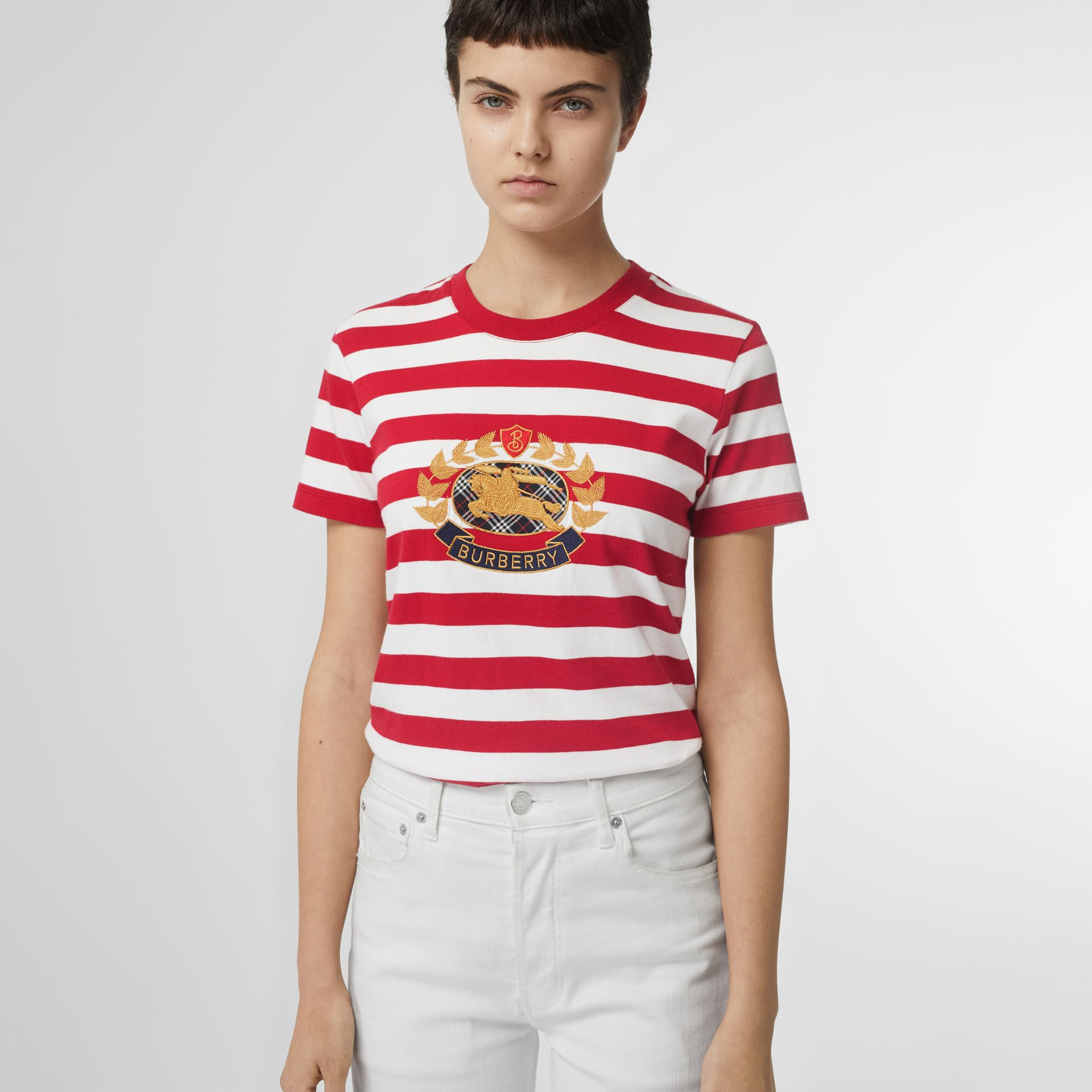 Crest Appliqué Striped Cotton T-shirt in Cadmium Red - Women | Burberry Canada - gallery image 0