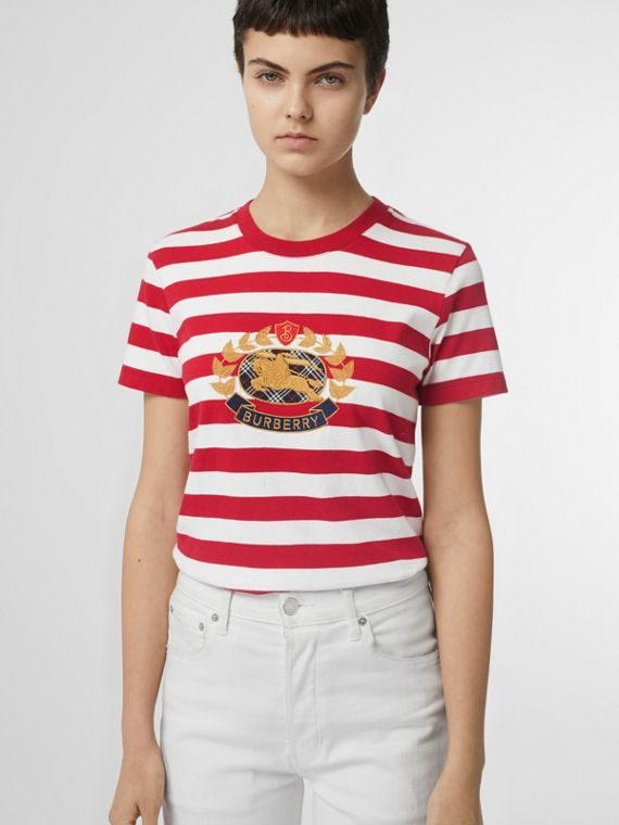 Crest Appliqué Striped Cotton T-shirt in Cadmium Red