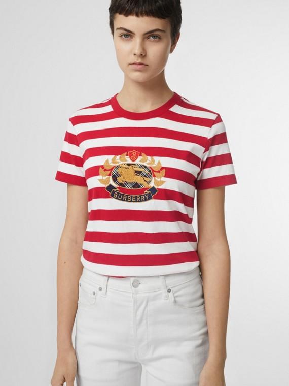 Gestreiftes Baumwoll-T-Shirt mit Ritteremblem (Kadmiumrot)
