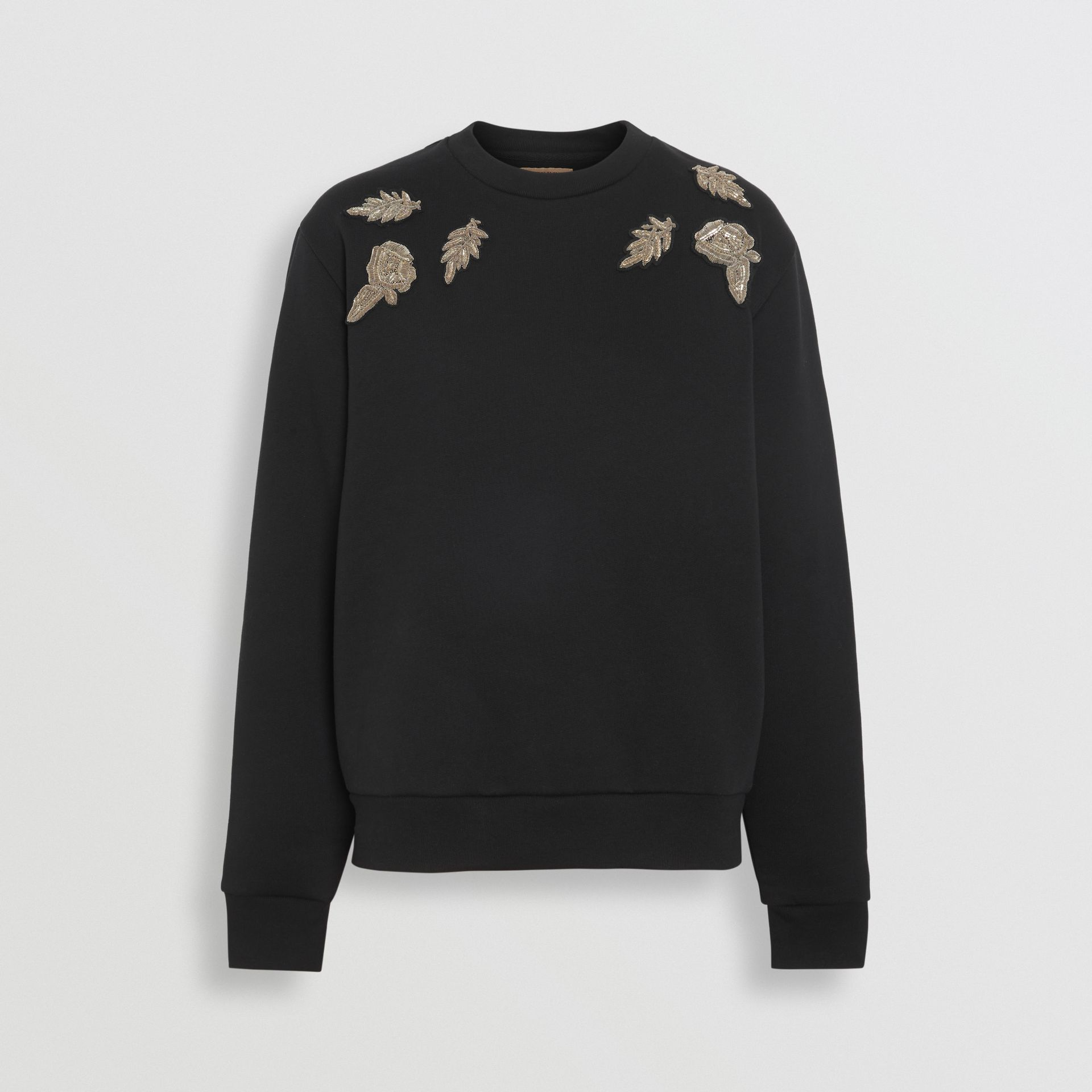 Bullion Floral Cotton Blend Sweatshirt in Black - Women | Burberry - gallery image 3