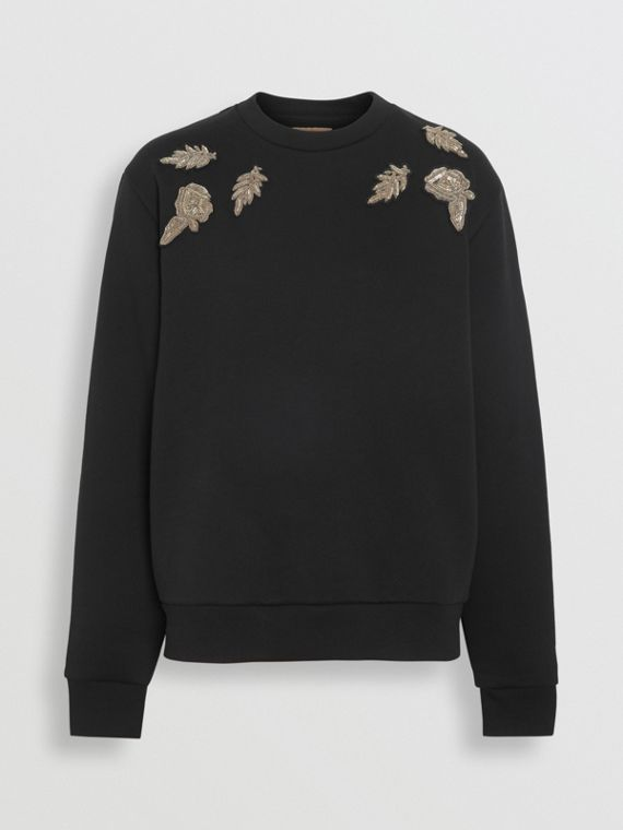Bullion Floral Cotton Blend Sweatshirt in Black